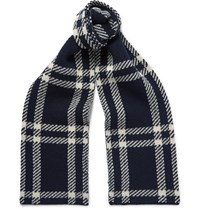 A.P.C. Saaen Checked Wool Scarf Navy