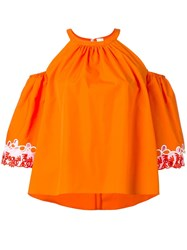Peter Pilotto Embroidered Tiered Sleeve Blouse Yellow Orange