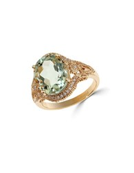 Effy Final Call Diamond Green Amethyst And 14K Yellow Gold Ring