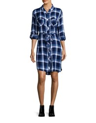 Beach Lunch Lounge Simon Long Sleeve Plaid Shirtdress Blue White