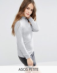 Asos Petite Jumper With Turtle Neck In Soft Yarn Grey