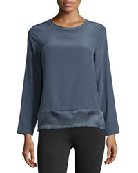 Peserico Long Sleeve Silk Top With Organza Hem Women's