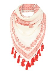 Max Mara Amedeo Geo Print Scarf With Pom Pom Hem Red