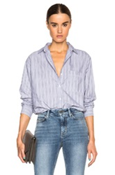 Mih Jeans Slouch Top In Gray Stripes