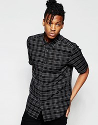 Asos Shirt In Grid Check With Half Sleeve Black