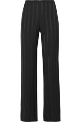Theory Pajeema Striped Satin Wide Leg Pants Black