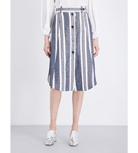 Sportmax Abituro Cotton And Linen Blend Woven Skirt White Blue