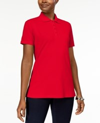 Karen Scott Short Sleeve Polo Top In Regular And Petite Sizes New Red Amore