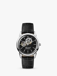 Ingersoll I07302 'S The New Haven Automatic Heartbeat Leather Strap Watch Black