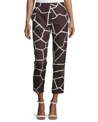 Escada Mid Rise Giraffe Print Cropped Pants Mocca