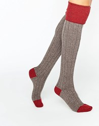 Johnstons Red Cashmere Colour Block Knee High Socks Red