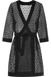 Mimi Holliday Rockhopper Penguin Polka Dot Lace Robe Black
