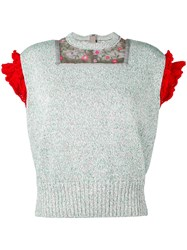 Kolor Ruffle Sleeve Knit Top Women Cotton Polyester 3 Grey
