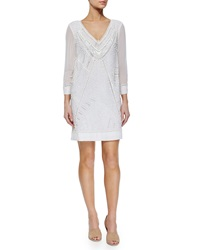 French Connection Evisaa Beaded Chiffon Shift Dress Summer White