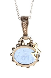 Phillip Gavriel Two Tone Blue Glass Cameo Pendant Necklace