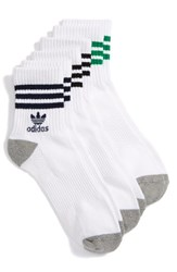 Adidas Men's 3 Pack Quarter Crew Socks White Multi