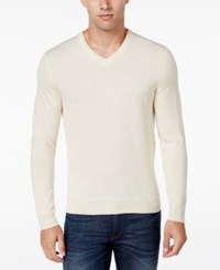 Club Room Men's Big And Tall Merino Wool V Neck Sweater Only At Macy's Natural