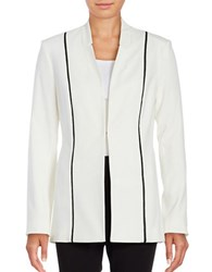 T Tahari Anna Leather Trimmed Blazer Tan