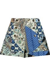 Etro Printed Cotton Twill Shorts Blue