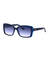 Thierry Mugler Two Tone Oversized Square Sunglasses Black Blue