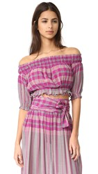 Apiece Apart Oeste Off The Shoulder Top La India Plaid