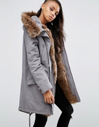Asos Parka With Coloured Faux Fur Liner Grey