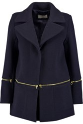 Sandro Mael Zip Detailed Wool Blend Coat Midnight Blue