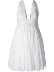 Jay Ahr V Neck Flared Dress White