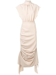 Awake A.W.A.K.E. Draped Ruched Dress Neutrals