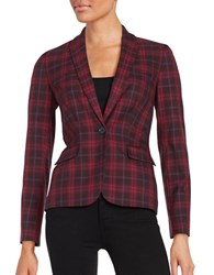 Tommy Hilfiger Plaid One Button Blazer Red