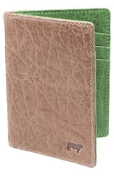 Men's Will Leather Goods 'Flip Front Pocket' Card Case Metallic Taupe Green