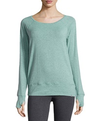 Marc Ny Performance Ruched Back Yoga Tee Heather Lagoon