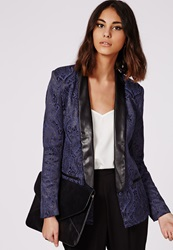 Missguided Jacquard Tailored Tuxedo Blazer Navy Blue