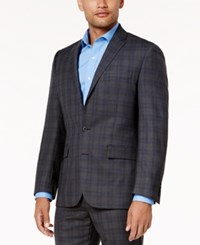 Ryan Seacrest Distinction Men's Gray And Blue Plaid Modern Fit Jacket