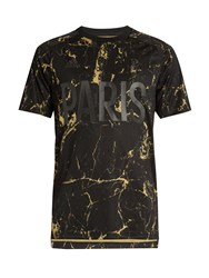 Adidas By Pogba Marble Print Satin Jersey T Shirt Black