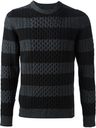 Diesel Black Gold Striped Cable Knit Sweater