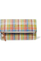 Clare V. V Plaid Fold Over Woven Canvas Clutch Multi