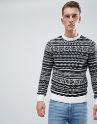 New Look Jumper With Fairisle Stripe In Black Navy