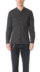 The Kooples Washed Denim Long Sleeve Shirt Black