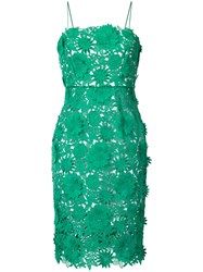 Milly Fitted Floral Detail Dress Women Silk Polyester 2 Green