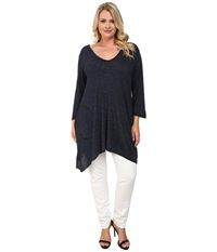Allen Allen Plus Size Three Quarter Angled Tee Lapis Women's T Shirt Navy