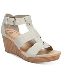 Dr. Scholl's Barton Wedge Sandals Women's Shoes Grey Snake Print