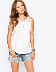 New Look Lace Insert Swing Shell Top White