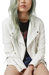 Women's Topshop Faux Leather Biker Jacket White