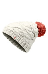 The North Face Triple Cable Beanie Ivory Wild Oat Heather Faded Rose