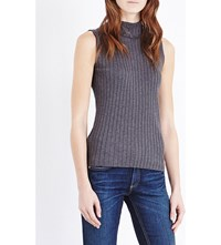 Rag And Bone Ribbed Sleeveless Stretch Cotton Top Charcoal