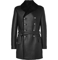 Balmain Shearling Lined Leather Jacket Black