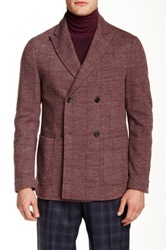 Ports 1961 Herringbone Double Breasted Peaked Lapel Wool Blend Blazer Red