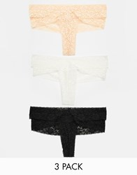 Asos 3 Pack Neutral Double Strap Lace Thong Multi