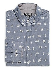 Artistry In Motion Bear Print Chambray Button Down Shirt Navy
